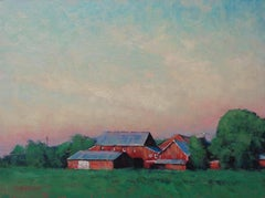 Impressionistic Farm Landscape Painting Michael Budden Early Evening Light Farm