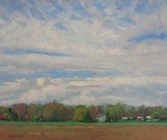 Impressionistic Farm Landscape Painting Michael Budden Spring Skies