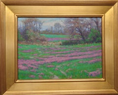 Impressionistic Floral Landscape Oil Painting by Michael Budden Purple Flowers