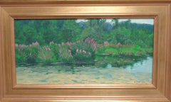 Impressionistic Floral Landscape Oil Painting Michael Budden Purple loosestrife