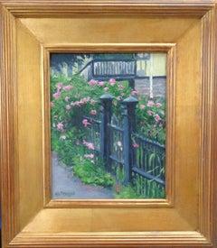 Impressionistic Floral Landscape Painting Michael Budden Fence Line Flowers