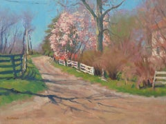 Impressionistic Landscape Oil Painting by Michael Budden Early Spring Farm Lane