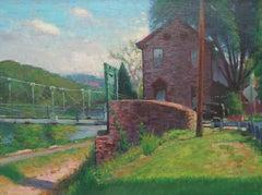 Impressionistic Landscape Painting Michael Budden Lumberville Bridge Bucks Co