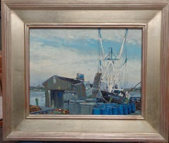 Impressionistic Marine Oil Painting Michael Budden Working Boat The Discovery