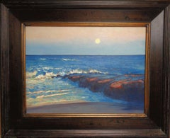Impressionistic Moonlight Seascape Oil Painting Michael Budden Beach Jetty