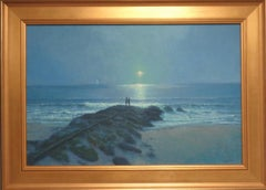 Impressionistic Moonlit Seascape Painting Michael Budden Dressed in Silver
