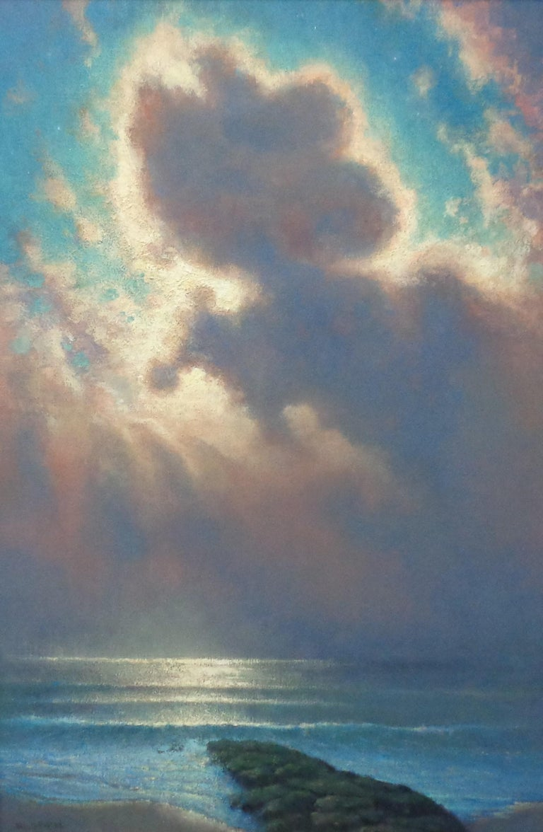 Impressionistic Moonlit Seascape Painting Michael Budden Sweet Moonlight II For Sale 1
