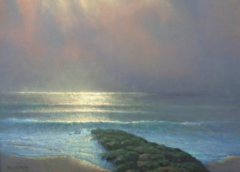 Impressionistic Moonlit Seascape Painting Michael Budden Sweet Moonlight II For Sale 4