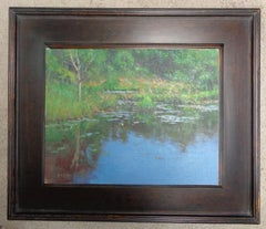 Impressionistic Pond Landscape Painting Michael Budden Marsh Light I Lilly pads