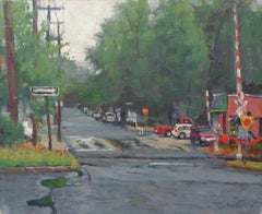 Impressionistic Rainy Day Painting Michael Budden City Scene