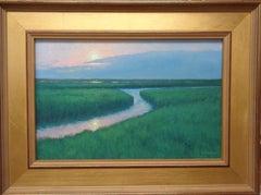 Impressionistic Realism Ocean Seascape Painting Michael Budden Moonlight Marsh