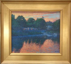 Impressionistic River Landscape Painting Michael Budden Bucks Co The landing