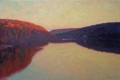 Impressionistic River Landscape Painting Michael Budden Evening Passage BucksCo