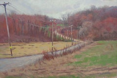 Impressionistic Rural Farm Landscape Oil Painting Michael Budden Farm Lane