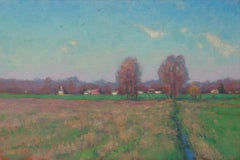 Impressionistic Rural Farm Landscape Oil Painting Michael Budden Springtime