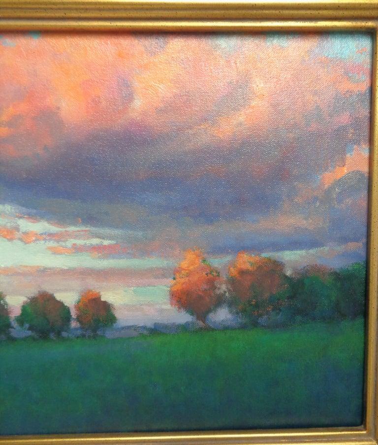 Impressionistic Rural Landscape Oil Painting Michael Budden Sunset Inspiration For Sale 2