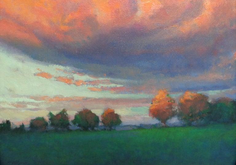 Impressionistic Rural Landscape Oil Painting Michael Budden Sunset Inspiration For Sale 3