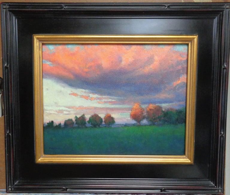 Impressionistic Rural Landscape Oil Painting Michael Budden Sunset Inspiration - Black Landscape Painting by Michael Budden