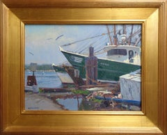Impressionistic Seascape Boat Painting Michael Budden In For The Afternoon