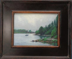 Impressionistic Seascape Boat Painting Michael Budden Morning Grays