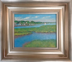 Impressionistic Seascape Boats Painting Michael Budden Backwater Hideaway