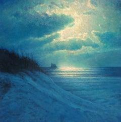Impressionistic Seascape Nocturne Painting Michael Budden Moon Light Sailing