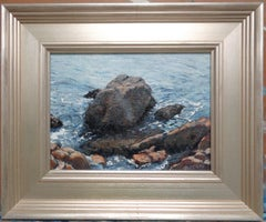 Impressionistic Seascape Ocean Painting Michael Budden Rocks and Water Study