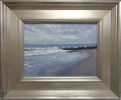 Impressionistic Seascape Oil Painting Michael Budden Beach Ocean Sail Boat Surf