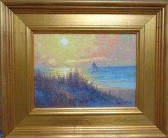 Impressionistic Seascape Sunrise Oil Painting Michael Budden Sail Boat Beach