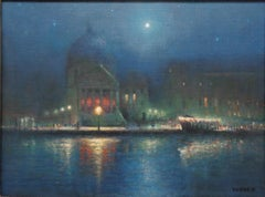 Impressionistic Seascape Venice Painting Michael Budden Moonlight on the Canal