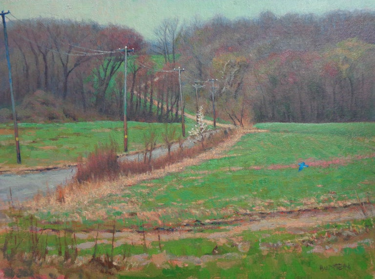 Impressionistic Spring Farm Landscape Oil Painting Michael Budden Blue Bird For Sale 1