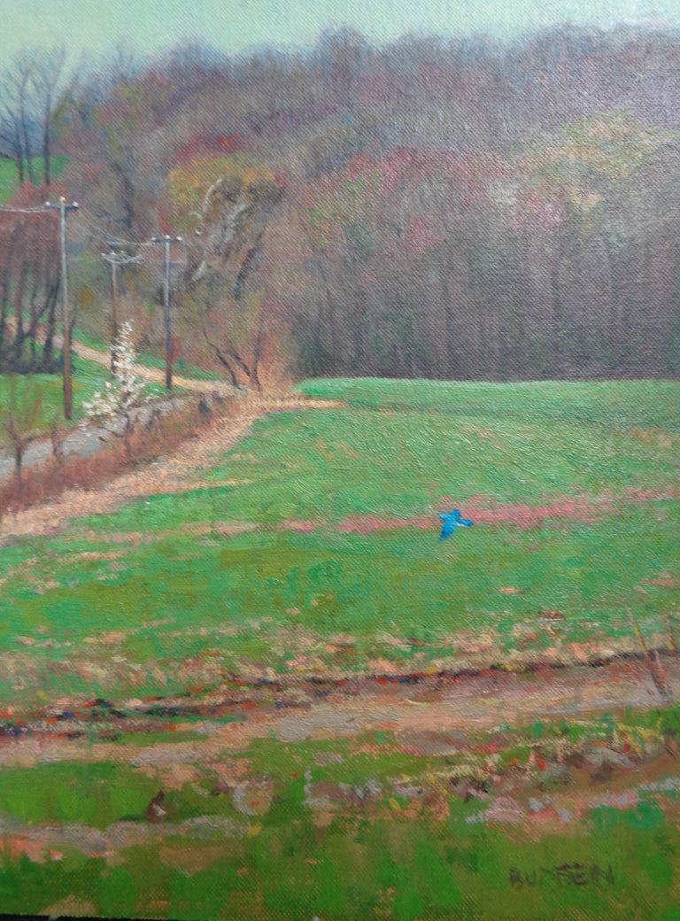 Impressionistic Spring Farm Landscape Oil Painting Michael Budden Blue Bird For Sale 4