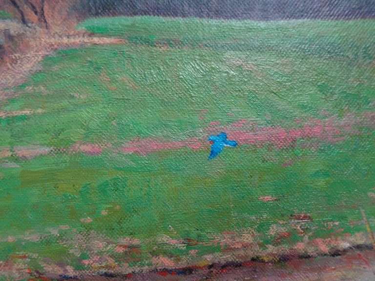 Impressionistic Spring Farm Landscape Oil Painting Michael Budden Blue Bird For Sale 5