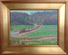 Impressionistic Spring Farm Landscape Oil Painting Michael Budden Blue Bird