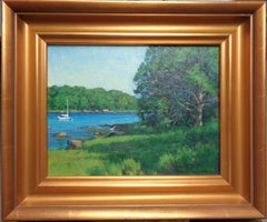 Impressionistic Summer Seascape Boat Painting Michael Budden Hidden Cove