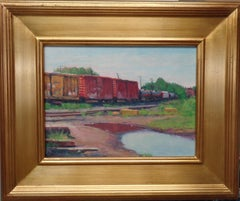 Impressionistic Train Landscape Oil Painting Michael Budden Boxcar Reflections