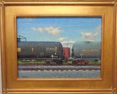 Impressionistic Train Landscape Oil Painting Michael Budden Clouds & Cars