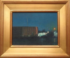 Impressionistic Train Night Landscape Painting Michael Budden Evening Boxcar