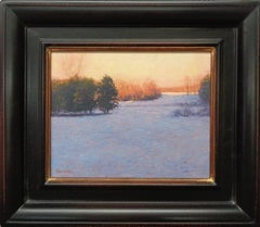Impressionistic Winter Snow Landscape Oil Painting Michael Budden Evening Light