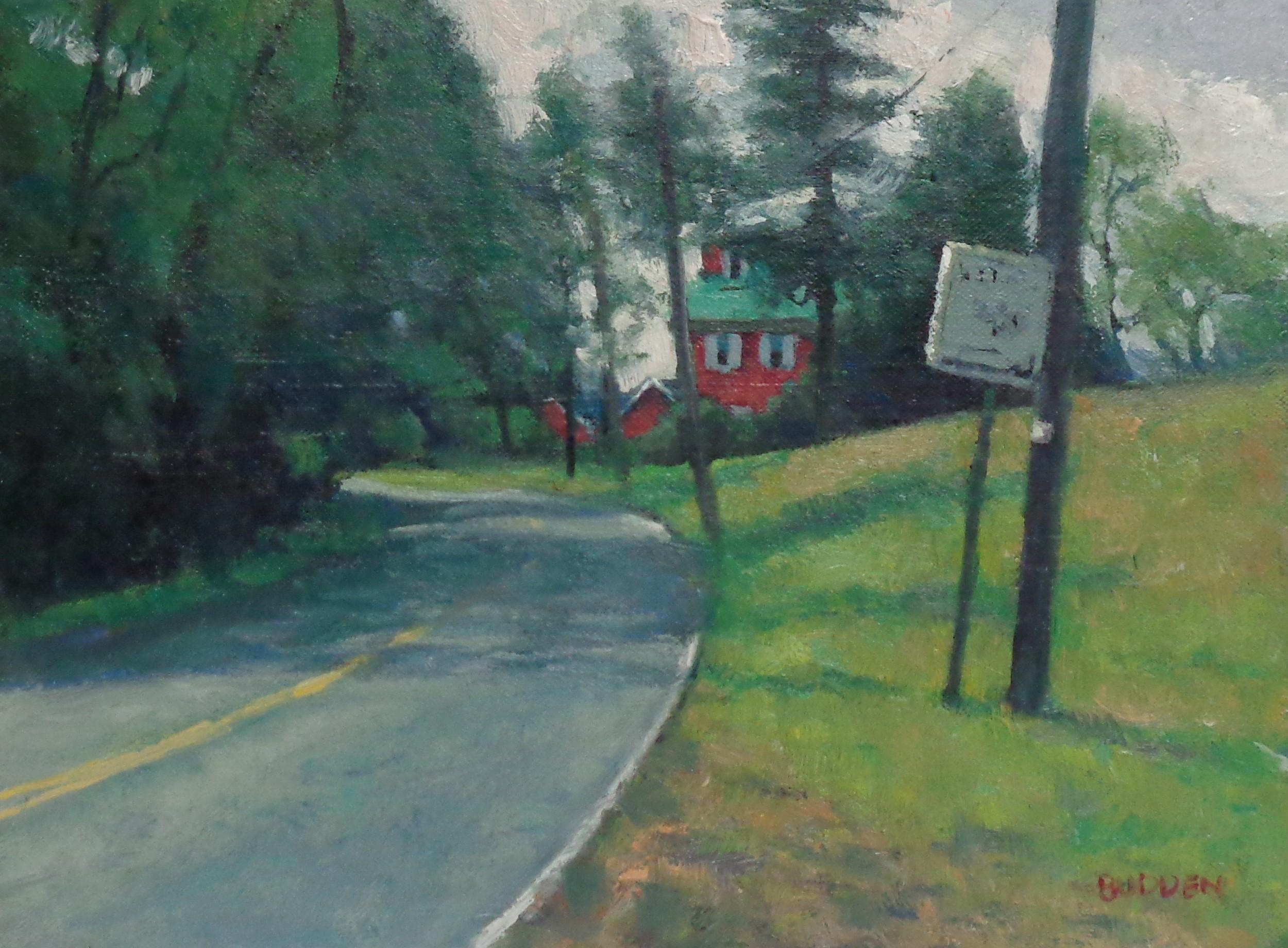 Landscape Oil Painting by Michael Budden Spring Farm Thru Trees