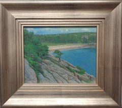 Maine Acadia Sand Beach Overlook  Landscape Oil Painting by Michael Budden