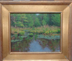 Marsh & Lilly Pads Impressionistic Award Winning Oil Painting Michael Budden