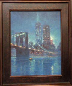 New York City Brooklyn Bridge & Freedom Tower Oil Painting by Michael Budden