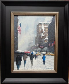 New York City Winter Flags Oil Painting of Fifth Avenue by Michael Budden