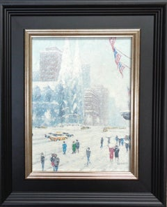 New York City Flags St Patricks Cathedral Oil Painting by Michael Budden
