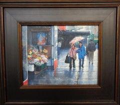 New York City Flower Market Spring Shower Oil Painting Michael Budden