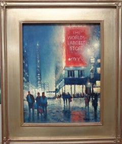 New York City Impressionistic Realism Oil Painting Macy's Night Michael Budden