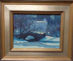 New York City Nocturne Gaptstow Plaza Central Park Oil Painting Michael Budden