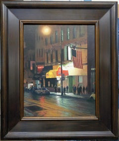 New York City Oil Painting Nocturne Street Scene & Flag by Michael Budden