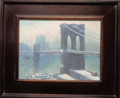 New York City Painting Winter Snow Brooklyn Bridge by Michael Budden Ferry Boat
